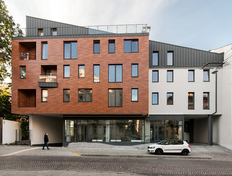 ЖК Шерлок Холмс, фасад из HPL панели FunderMax
